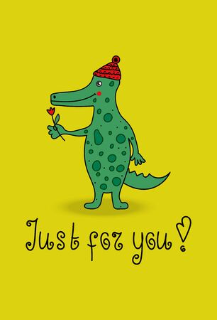 gator: Cartoon crocodile. Vector funny cute green alligator. Illustration with cheerful smiling animal character greeting cards, flyers. Gator is in cap and gives flower.