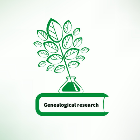 inkpot: Genealogical research. Vector illustration. Pen in the form of tree, ink and book.