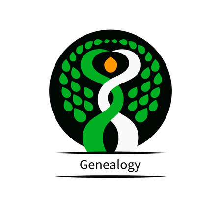 inkpot: Genealogical research. Vector illustration. Two trees intertwined Illustration