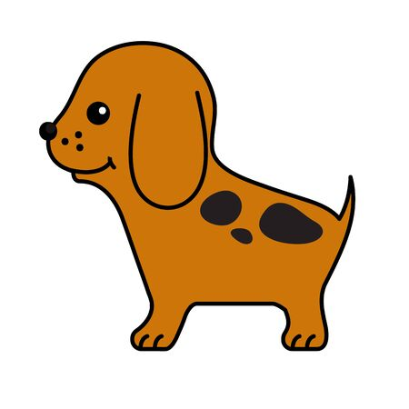 big head: Puppy. Vector funny cartoon little spotted smiling friendly brown dog with a big head. Animal flat character, pup.