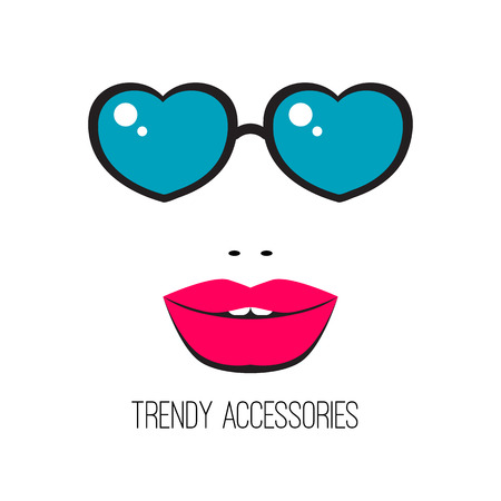 it girl: Trendy accessories. Stylish vector glasses in form of heart. Girl in blue sunglasses with beautiful lips. Fashion, beauty, style and glamour.