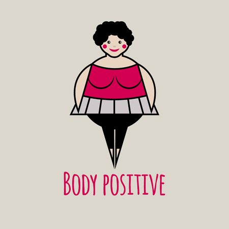 rotund: Vector icon of body positive.