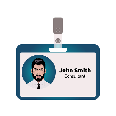 id badge: Vector ID badge with picture of  young attractive business of  bearded man, brunett consultant. Illustration