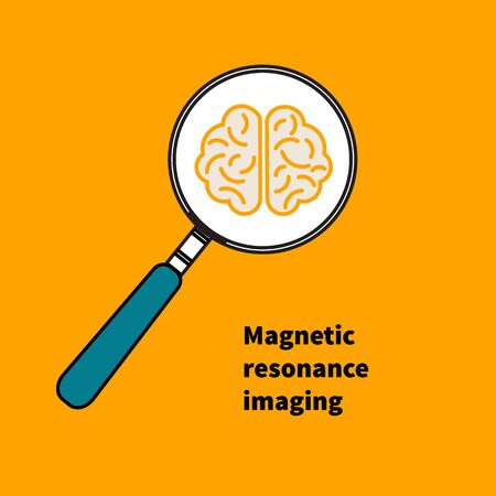 lupa: Icon MRI. magnetic resonance imaging. Vector illustration. Brain under magnifying glass. Study.