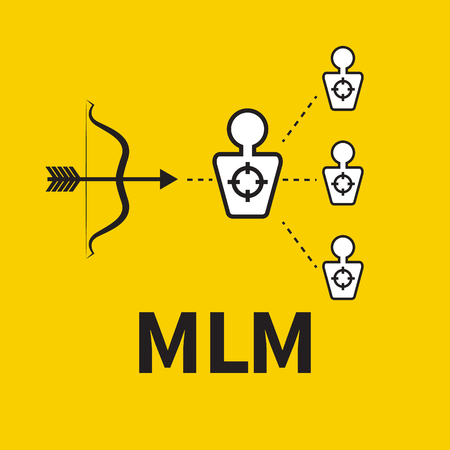 Scheme of multilevel marketing. Icon MLM. Vector bow and target audience.