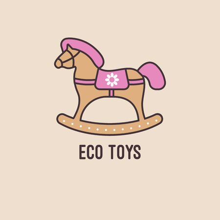 Vector wooden rocking horse with pink mane and tail. Icon eco toys from wood for kids. Illustration