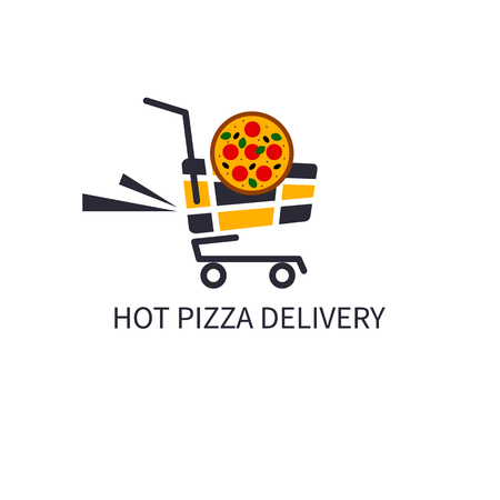 deliver: Icon deliver hot pizza Illustration