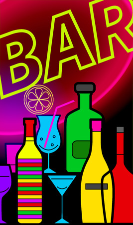 Vertical banner, flyer for cocktail bars. Neon bottles and glasses. Template for invitation to party. Vector illustration.