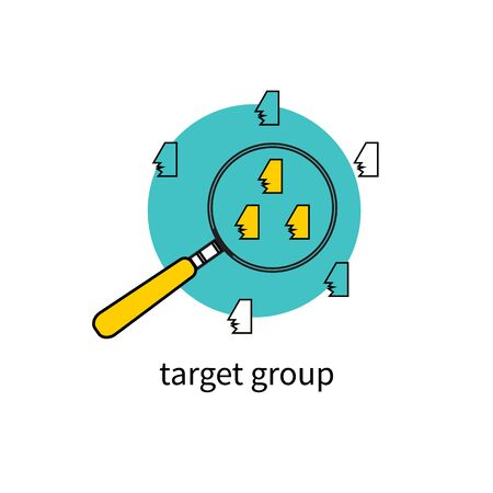 erp: Target group audience. People under magnifying glass. Concept selection team. Vector illustration.