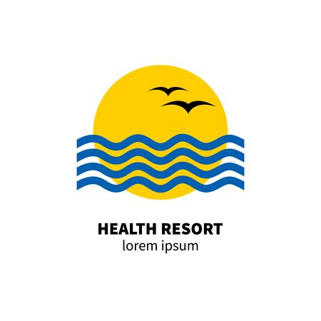 Logo health resort. Icon hotel. Stylized sun, waves, birds Vector illustration Stock Illustratie
