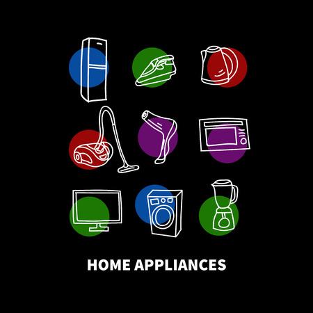 Hand drawn home appliances