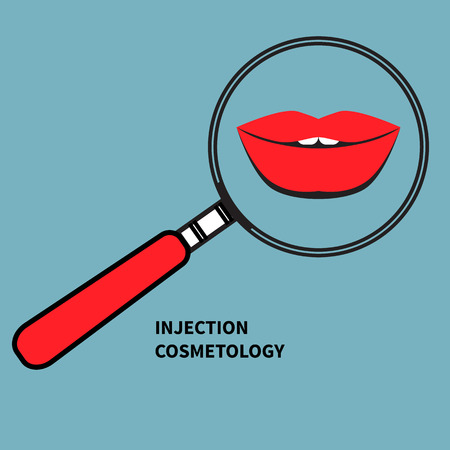 plump lips: Womens plump red lips under magnifying glass. Icon injection cosmetology. Vector illustration. Illustration