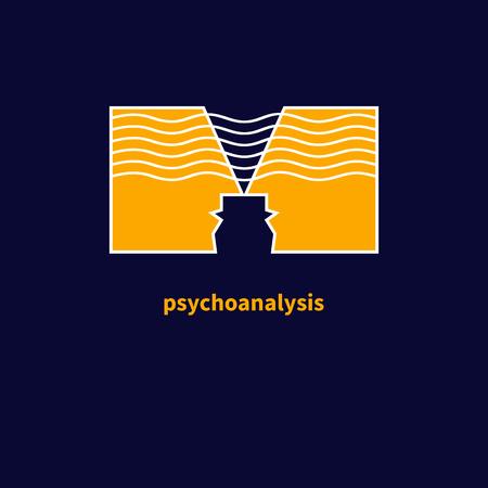psychoanalysis: Logo psychologist. Icon of psychotherapy, of psychoanalysis. Symbol of communication. Vector illustration