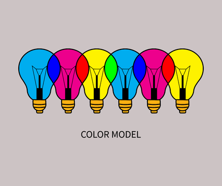secondary colors: CMYK and RGB. Example of addictive and substractive color model. Colorful overlapping lights. Vector illustration.