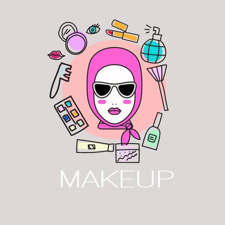 Flyer vente sur les produits cosmétiques. services d'icônes de styliste et artiste de maquillage. Logo salon branché. Une femme, autour de laquelle la main dessinée blush, pinceau, parfum, rouge à lèvres. Vector illustration. Logo