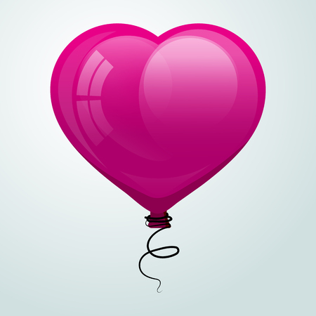 Pink glossy flying balloon in shape of heart. Vector illustrate. Valentine for Valentines Day.