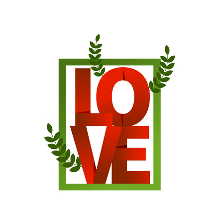 Red word love, folded paper. Composition of letters. Banner for valentines day. Vector illustration.