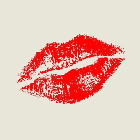 imprint: Red traced imprint of lips wearing lipstick isolated. Vector illustration.