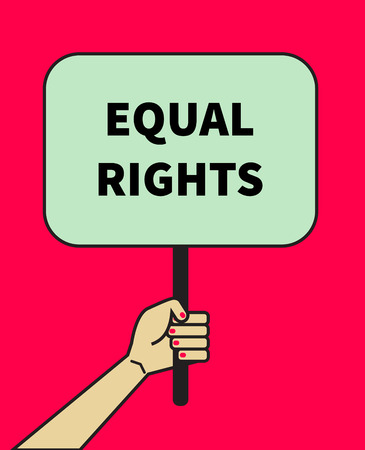 Female hand holding banner of equal rights. Symbol of feminism, struggle for women's equality. Icon against discrimination. Vector illustration.
