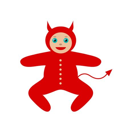 restless: Baby in costume devil on Halloween. Symbol of naughty, restless child. Vector illustration.