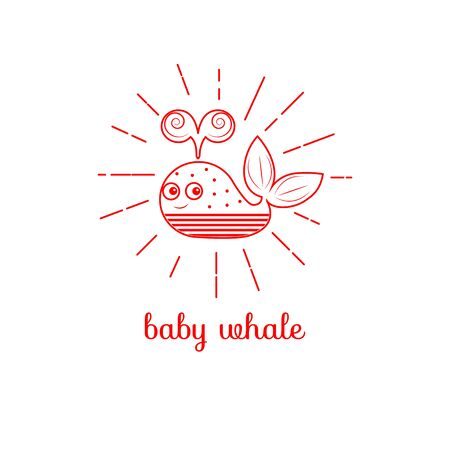 whale baby: Logo baby whale. Icon toys animal. Vector illustration. Illustration