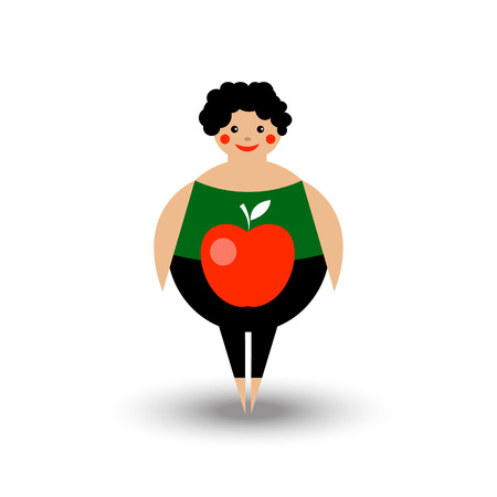 Woman with figure like Apple. Icon abdominoplasty, liposuction. Vector illustration.