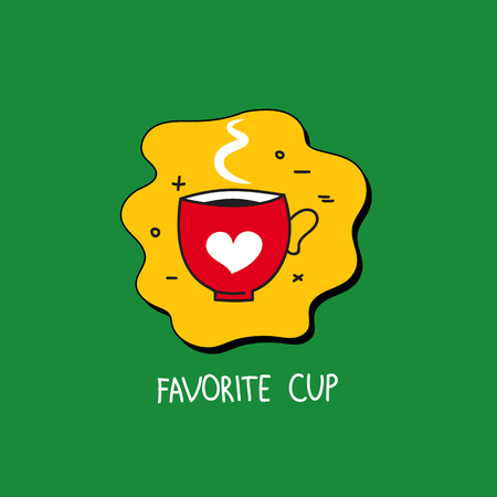 Hand drawn red favourite cup with heart. Logo cafe. Icon coffee shop. Vector illustration.