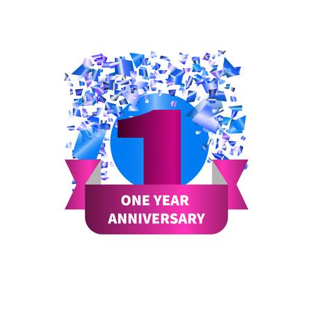 One year anniversary. Figure, ribbon, confetti. Vector illustration. Illustration