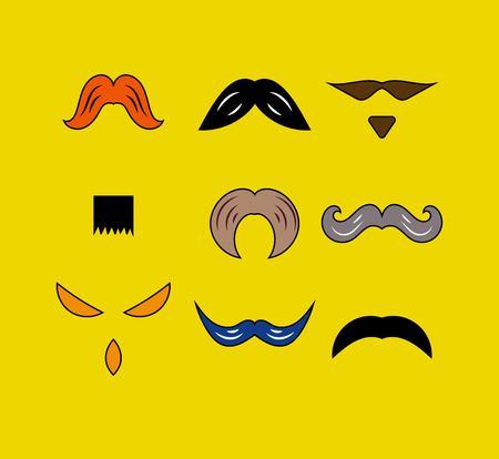 chaplin: Set hipster moustaches of different shapes. Male design elements for photo booth. Vector illustration.