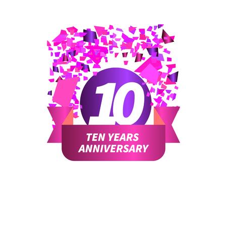 Ten year anniversary. Figure, ribbon, confetti. Vector illustration. Illustration