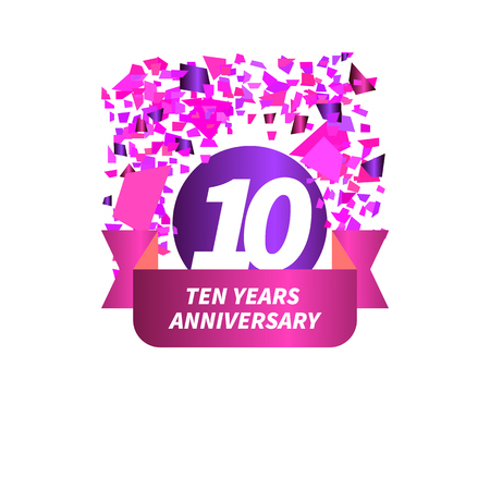 Ten year anniversary. Figure, ribbon, confetti. Vector illustration. Illustration