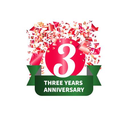 Three year anniversary. Figure, ribbon, confetti. Vector illustration. Illustration