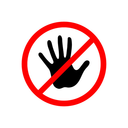 No entry sign. Icon with a crossed-out hand. Vector illustration.