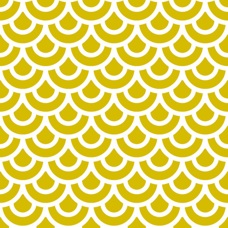 Japanese traditional yellow ornament. Seamless pattern. Fish scales. Vector illustration.