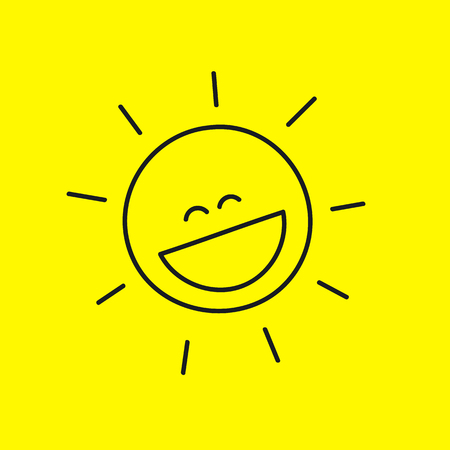squinting: Funny laughing cute smiley sun with rays isolated on  yellow background. Summer icon, emoticon with  smile. Symbol of pleasure, positive, enjoy. Vector illustration.