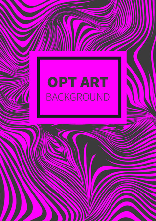 opt: Striped black and pink opt art. Geometric optical illusion with stripes. Abstract background, card. Vector illustration.