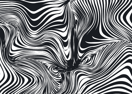 Distorted psychedelic abstract monochrome black and white background, pattern. Hypnotic print, optical illusion. Vector illustration.