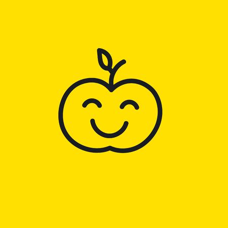 squinting: Icon of natural fresh organic bio eco ecological farm products. Logo of farmer. Happy apple smiley, emoticon, hand drawn emoji. Vector illustration.