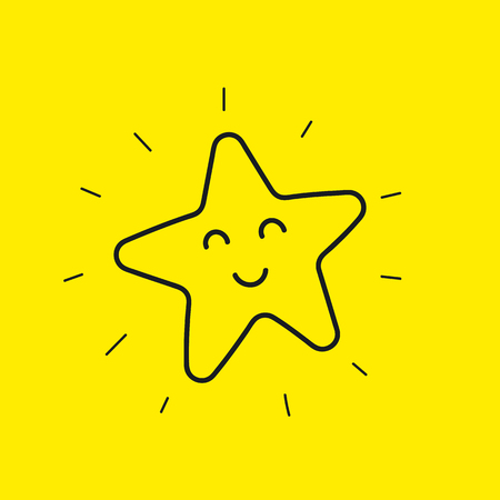 Happy star smiley. Hand drawn line icon good day isolated on yellow. Happy flower emoji, emoticon. Vector illustration.