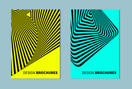 opt: Set of abstract banners in style of opt art, optical illusions. Striped distorted background. Illustration