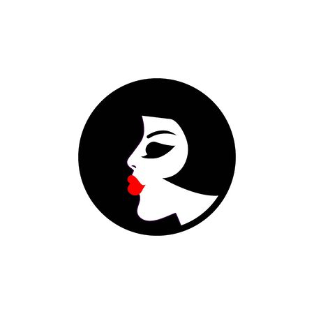 vamp: Profile of beautiful girl in circle isolated. Glamour logo, icon beauty salon, parlour, hairdresser. Vector illustration.