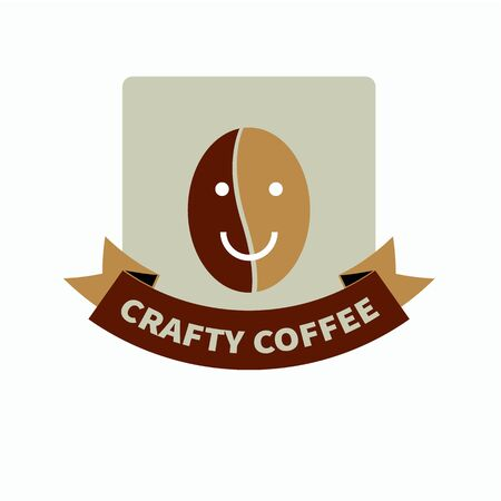 crafty: Hipster brown logo for trendy coffee shop with  natural quality crafted coffee and smiling friendly coffee bean smiley and tape vector illustration.