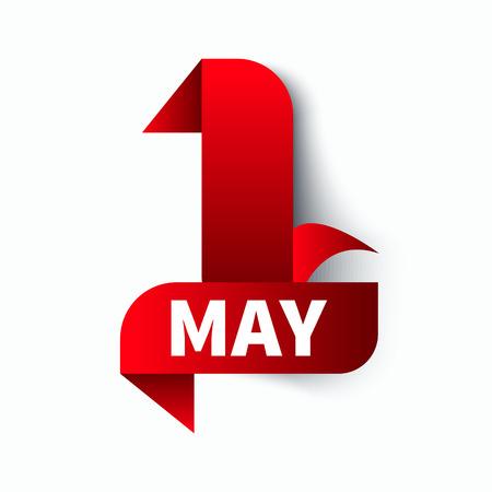 Dzień roboczy Ikona, pierwsza maja. Czerwona wstążka jest numerem jeden na białym tle. Element projektu. Ilustracji wektorowych. Ilustracje wektorowe