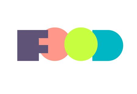 Lettering in style of avant-garde. Word food in form of flat paper geometric shapes. Vector illustration. Illustration