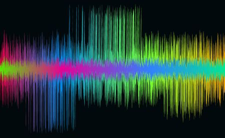 Colorful music wave. Neon sound line. Vector illustration.