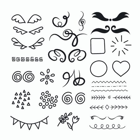 Hand drawn set of elements for crafting design. Unique items for decorations handmade products. Vector illustration. Illustration