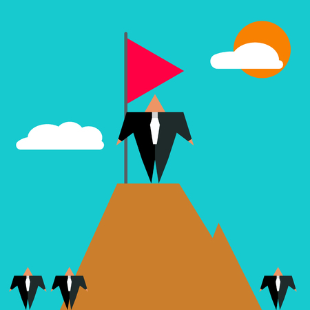 stands: Businessman has reached top in his career. Boss stands on top of mountain with flag. Icon of success. Vector illustration. Illustration