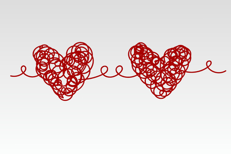 Two related scrawled hand drawn red heart. Vector illustration Vettoriali