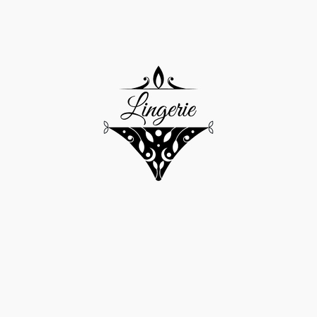 Logo, icon for lingerie store. Womens elegant lace panties. Vector illustration.