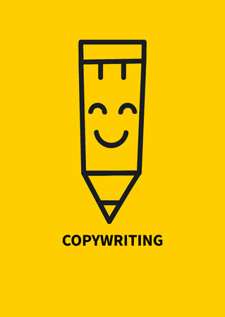 Logo copywriting. Smiling hand drawn pencil. Vector illustration.